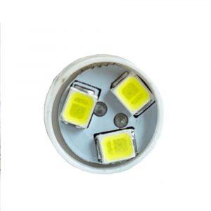 9MM - 12V - Super Brite LED Indicator Bulb - BA9S - White - Front - Part No 2002-2170-W