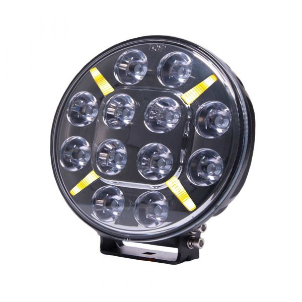Round LED Spot Lamp with Amber or Clear Position Lamp - Front View - Amber - Part No 1001-1620